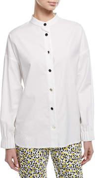Escada Button-Front Long-Sleeve Twill Shirt