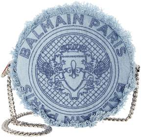 Balmain Disco Circle Blue Denim Crossbody Bag