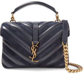 Saint Laurent - College Medium Quilted Leather And Suede Shoulder Bag - Midnight blue