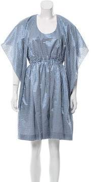 DELPOZO Metallic Gingham Dress