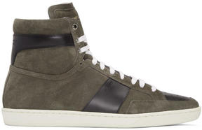 Saint Laurent Tan Suede SL-10H Court Classic High-Top Sneakers