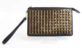 Michael Kors Black Gold Leather Sequin Daniela Wristlet Wallet Bag - BLACKS - STYLE
