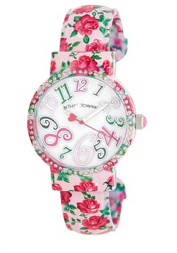 Betsey Johnson Women's Floral Crystal Cuff Watch