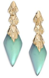 Alexis Bittar Lucite Crystal Studded Pleated Dangling Drop Earrings