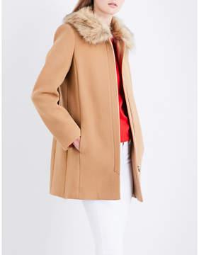 Claudie Pierlot Ladies Camel Concealed Zip Faux-Fur Collar Wool And Cashmere Blend Coat