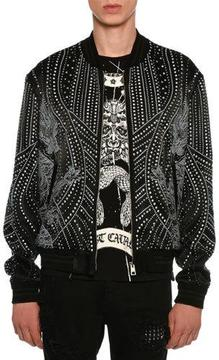 Just Cavalli Beaded Bomber Jacket w/ Dragon Motif