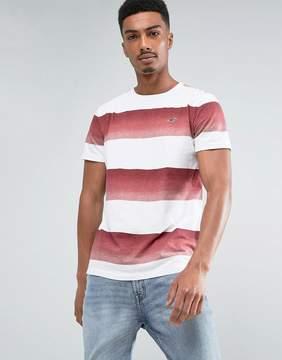 Hollister Crew T-Shirt Slim Fit Graduated Block Stripe in Red