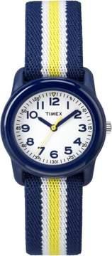 Timex Kids Navy Analog Watch, Navy /Yellow Stripe Elastic Fabric Strap