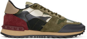 Valentino Green and Red Garavani Camo Rockrunner Sneakers
