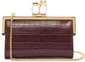 Alexander McQueen Crocodile Effect Leather Ring Clutch - Womens - Burgundy