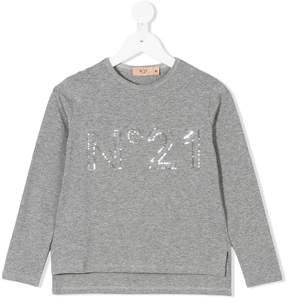 No.21 Kids sequin logo T-shirt