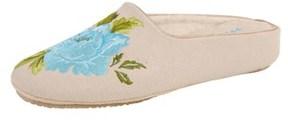 Patricia Green Peony Natural Linen Slipper.