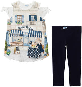 Mayoral Navy Italian Scene and Diamante Tee and Leggings Set