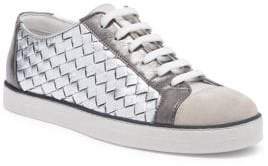 Bottega Veneta Woven Metallic Leather Sneakers