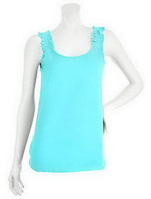 Denim & Co. As Is Scoopeneck Knit Tank Top w/ Shirred Straps
