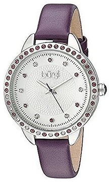 Burgi White Dial Ladies Purple Leather Watch