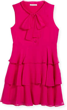 Oscar de la Renta Chiffon Bow Tiered Dress, Size 4-14