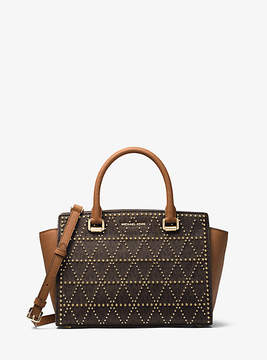 Michael Kors Selma Studded Logo Satchel - BROWN - STYLE