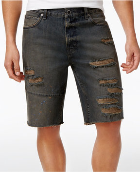 Lrg Men's Stroker Cutoff Destroyed Denim Cotton Shorts