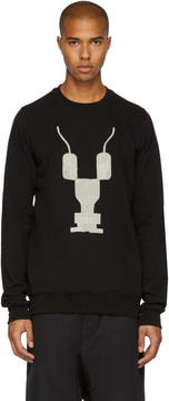 Rick Owens Black Embroidered Crewneck Sweatshirt