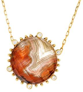 Frederic Sage 18k Yg Small Round Laguna Agate and Crystal With Diamond on 6 Prongs Tivoli Pendant With Attached Chain
