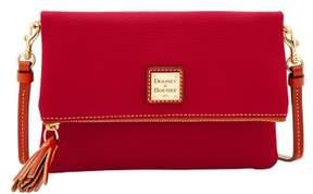 Dooney & Bourke Pebble Grain Foldover Zip Crossbody Shoulder Bag - CRANBERRY - STYLE