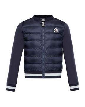 Moncler Down Quilted Coat w/ Knit Sleeves, Size 4-6