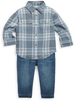 Ralph Lauren Baby's Two-Piece Plaid Twill Workshirt & Denim Joggers Set