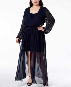 Betsy & Adam Plus Size Beaded Walk-Through Dress