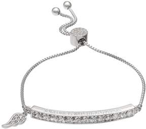 Brilliance+ Brilliance Silver Plated Someone is Watching Over Me Bolo Bracelet with Swarovski Crystals