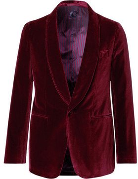 Caruso Burgundy Butterfly Slim-Fit Unstructured Velvet Tuxedo Jacket
