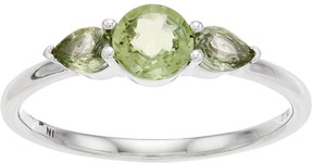 Lauren Conrad 10k White Gold Green Sapphire 3-Stone Ring