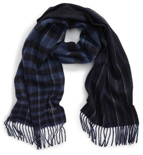 Hickey Freeman Men's Plaid Stripe Cashmere Scarf