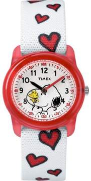 Timex Girls Time Machines x Peanuts: Snoopy & Hearts Watch, Elastic Fabric Strap