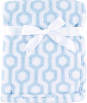 Luvable Friends 30'' x 36'' Blue & White Hexagon Fleece Stroller Blanket