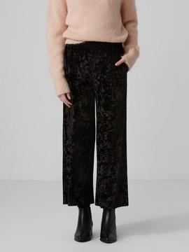 Frank and Oak Wide Leg Velvet Pant in in True Black