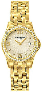 Patek Philippe Calatrava 18kt Yellow Gold Diamond Ladies Watch
