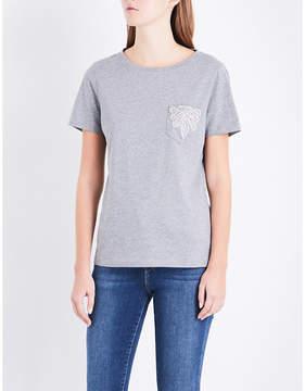 Claudie Pierlot Embellished cotton-jersey T-shirt
