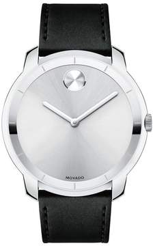 Movado Men's Bold Thin Leather Strap Watch, 44Mm