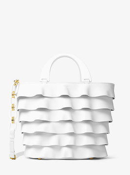Michael Kors Stanwyck Large Ruffled French Calf Tote - WHITE - STYLE