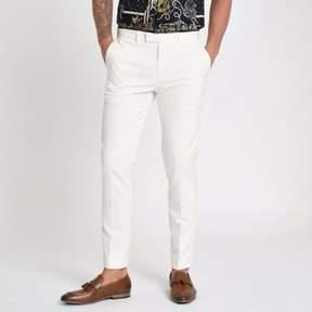 River Island Mens White satin trim skinny fit suit pants