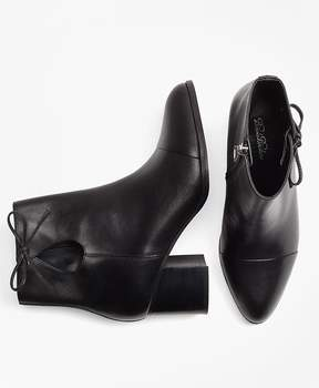 Brooks Brothers Bow-Trimmed Leather Ankle Boots