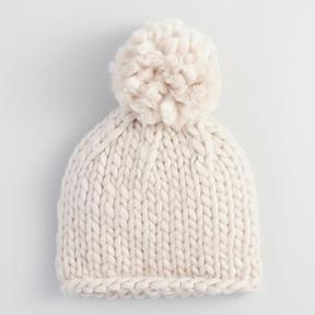 World Market Oatmeal Chunky Knit Pom Hat