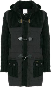 Bark knitted-panelled padded coat