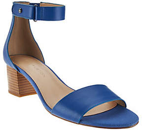 Halston H by Leather Sandal with Stacked BlockHeel - Lexi