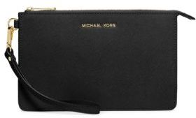 MICHAEL Michael Kors Textured Leather Wristlet - BURNT RED - STYLE