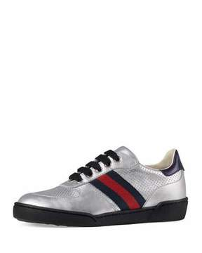 Gucci Metallic Leather Sneaker w/ Perforated Detail, Sizes 10T-2Y