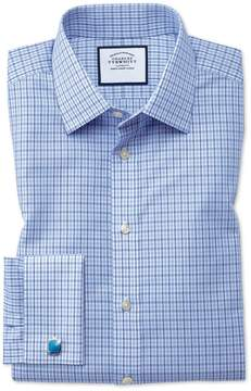 Charles Tyrwhitt Classic Fit Non-Iron Poplin Blue and Sky Blue Cotton Dress Shirt Single Cuff Size 15/35
