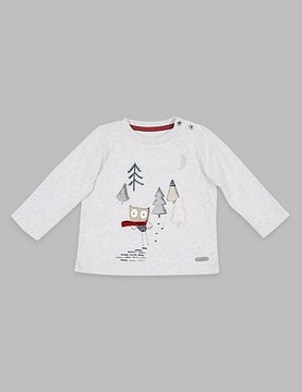 Marks and Spencer Pure Cotton Owl Applique T-Shirt