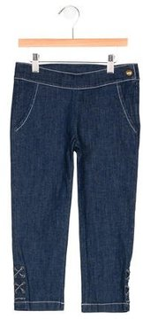 Junior Gaultier Girls' Lace-Up Dual Pocket Jeans w/ Tags
